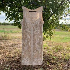 Sue Wong heavy lace beige shift formal dress sz 12
